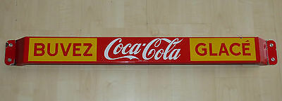 1959 French-Canadian Coca-Cola porcelain door push pushbar sign Coke FREE SHIP!
