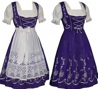 DIRNDL Trachten Oktoberfest Dress German 3 pc LONG Swing Full Garden Waitress