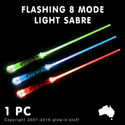 1x FLASHING LIGHT UP SABRE MULTI COLOUR  8 MODE LED GLOW PARTY SPACE COSTUME