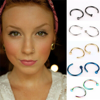 2pcs Punk Clip On Fake Nose Open Hoop Ring Lip Earring Navel Ring Body Piercing