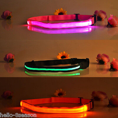 LED Slim Runner Fitness Jogging Money Waist Belt Safety Light 45-100cm