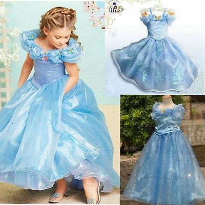 Blue Sandy Girl Cinderella Princess Cosplay Costume Kids Fancy Party Dress-05