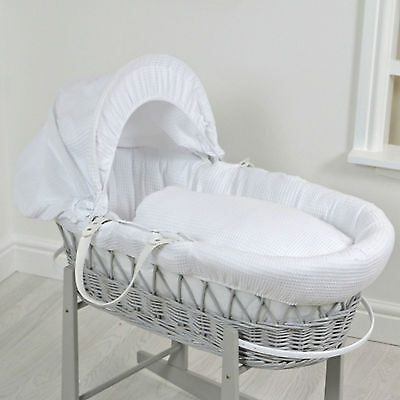 New 4Baby White Waffle Deluxe Padded Grey Wicker Moses Basket