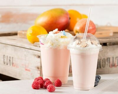 Disposable Smoothie Cups Domed Lids Milkshake Glasses Plastic Glass Party Cup
