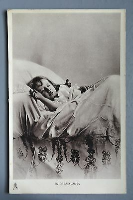 R&L Postcard: Edwardian Girl in Bed Sleeping, Tuck Golden Childhood Glosso