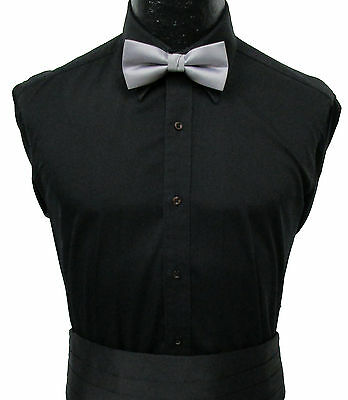 Black Laydown Collar Dress/Tuxedo Shirt Wedding Prom Mason Halloween Costume