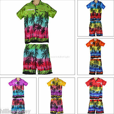 Hawaiian Shirt And Shorts Set Party Fancy Dress S Xl Xxl Beach Palm Tree Stag