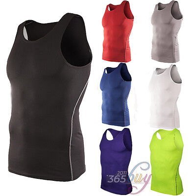 Mens Sleeveless Shirt Compression Tank Top Base Layer Skins Vest Fitness Gym Tee