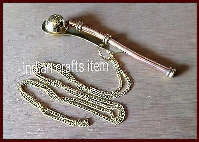 Navy Ship Bosun's Pipe New Copper/Brass Boatswain Whistle Chain