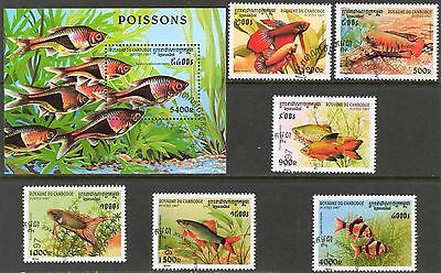Cambodia 1997 Fishes set of 6 + S/S Used / CTO