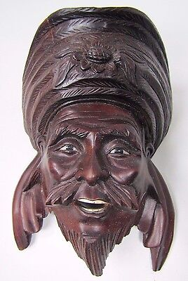 old Carved Asian Wood The Wise Sensei Exquisite Detailing Eyes Teeth -ma7