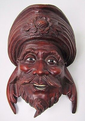 old Carved Asian Wood Man w/ Headdress Exquisite Detailing Eyes Teeth -ma4
