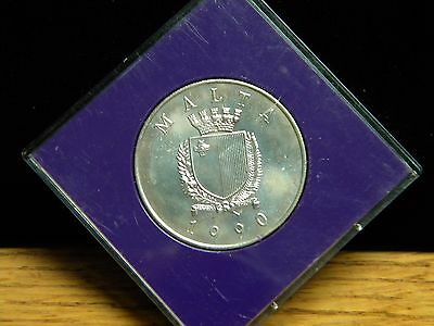 1990***malta***5 Liri***papal Visit***uncirculated Silver*only 5,000 Minted***ed