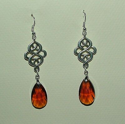 Victorian Persian Style Brown Faceted Glass Silver Plated Earrings Hook
