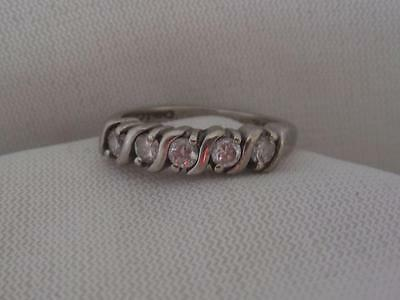"""Signed """"R"""" Sterling Silver 5 Round Cubic Zirconia Ring Band  - Size 7"""