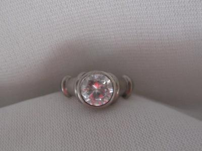 Signed Adi  Sterling Silver & 2 Carat Round Cubic Zirconia Ring  - Size 6.75