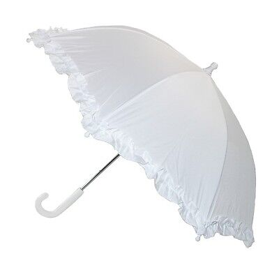 "Rain Sun Ruffled 32"" KIDS Parasol Umbrella COLORS: Pink White Purple Lilac Black"