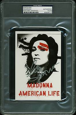 Madonna Authentic Signed 4x6 2003 American Life Tour Postcard PSA/DNA Slabbed