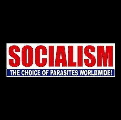 """SOCIALISM - THE CHOICE OF PARASITES"" Anti Welfare BUMPER STICKER Obama, Hillary"
