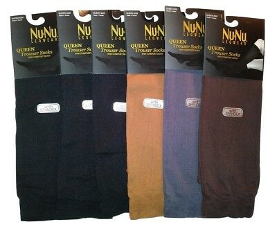 NuNu Womens Queen Size Trouser Sock 10-13 Comfort Band YOU PICK THE COLORS 6 PR