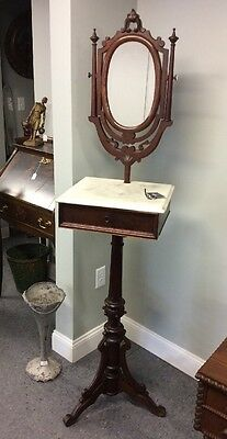 Antique Victorian Walnut & Marble Top Shaving Stand