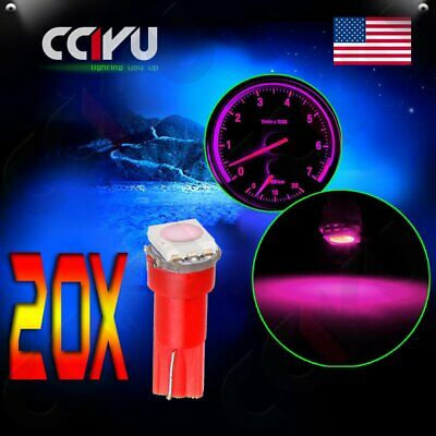 20x Pink T5 Wedge 1-5050-SMD LED Dash Instrument Panel Light Bulbs 74 86 70 73