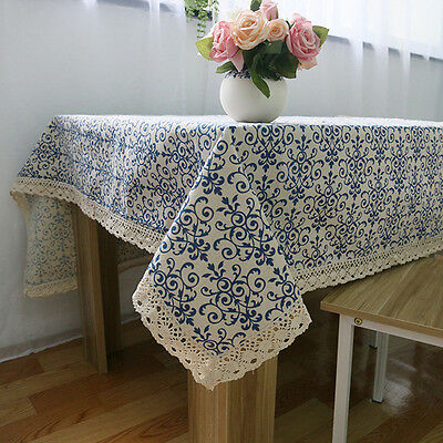 Newly Retro Blue and White Porcelain Dinning Table Cotton Linen Tablecloth
