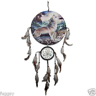 Howling Wolf & Eagle  Native American  Dreamcatcher 30cm Canvas  NEW