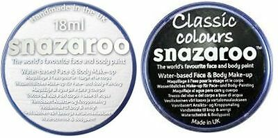 Classic BLACK or WHITE x 18 ml Halloween SNAZAROO Face & Body Paint Make Up