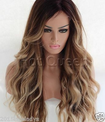 100% Brazilian Remy Human Hair Ombre Long Wavy Full Lace Wig Lace Front Wigs