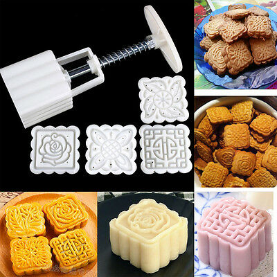 4pcs Stamps Square Flowers Moon Cake Mold Pastry Hand Pressure 1 Barrel 4 Flower