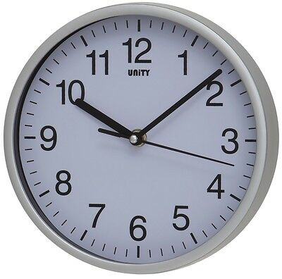 """Silent Sweep Wall Clock By Unity Radcliffe Clock In Silver And White 8"""" 20Cm"""