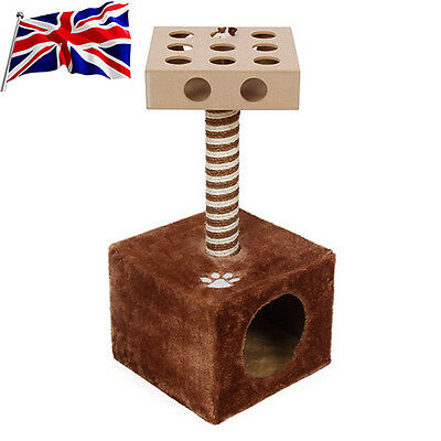 UK New Cat Tree Pet Home Furniture & IQ Busy Box Condo Scratcher Brown