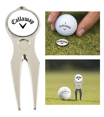 Callaway Golf Divot Repair Tool & Removable Magnetic Ball Marker, Silver / B