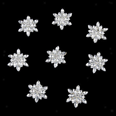 10x Crystal Flower Rhinestone Button DIY Craft Embellishment Flatback Silver