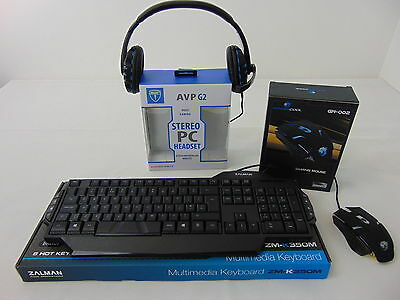 Freshtech Gaming Bundle Pack Zalman 350 Keyboard LED Gaming Mouse + G2 Headset