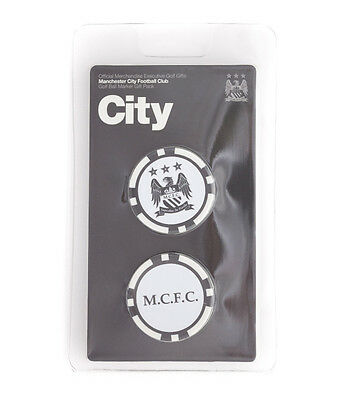 Manchester City Fc 2 Poker Chip Golf Ball Markers In Gift Set