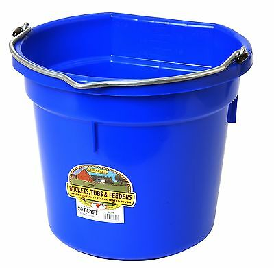 Blue 5 Gallon (20 Qt) Professional Farm Grade Flat Back Bucket Pail Horse Cattle