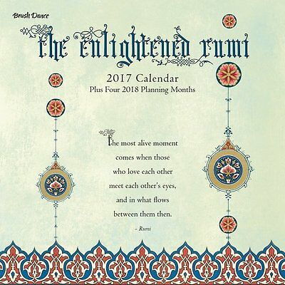 Enlightened Rumi Monthly Wall Calendar 2017 Spiritual mindful Art Pattern Quote