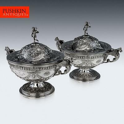 ANTIQUE 18thC GIORGIAN SOLID SILVER EXCEPTIONAL PAIR OF TUREENS c.1789