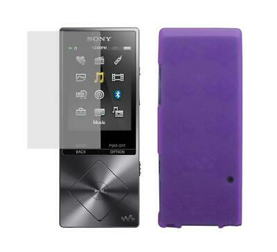 Screen Protector + Purple TPU Skin Cover Case for Sony Walkman NW-A25 NW-A26