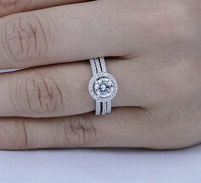 3Pcs 925 Sterling Silver Cz Wedding Engagement Bands Rings Set Size 6-8 Ss834