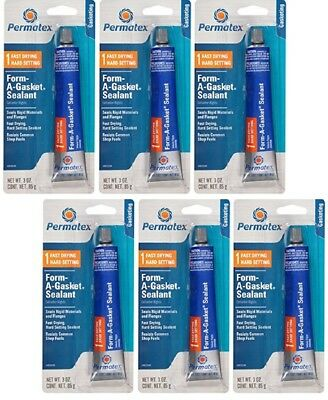 6~New PERMATEX 80008 FORM-A-GASKET #1 SEALANT HARD SETTING FAST DRYING 3 oz Tube