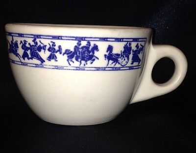 Buffalo Pottery Buf114 White Cup 9 Oz Blue Band Horses People Chariots Roman