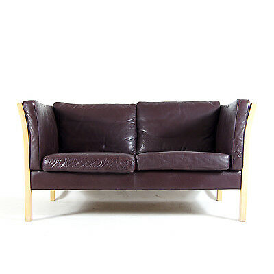 Retro Vintage Danish Stouby Design 2 Seat Seater Beech & Leather Sofa 60s 1970s