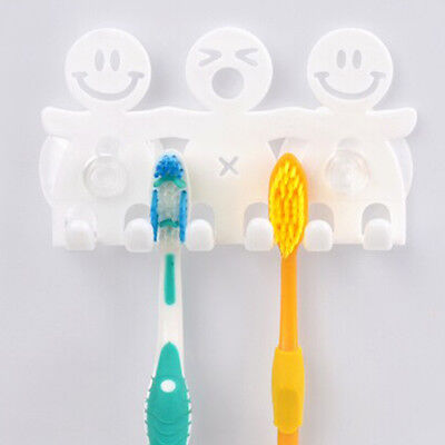 Good-looking Cute Smile Face Sucker Toothbrush Holder Suction Hooks Nice Gifts