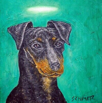 MANCHESTER terrier dog angel art tile coaster animals gift impressionism new