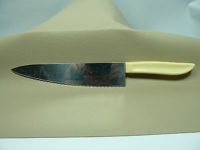 Vintage Quikut Quikkle Stainless CHEF KNIFE - 12 inch - Cream handle - SERRATED