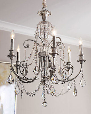Horchow Crystal Beaded  Chandelier French Farmhouse Antique Silver XL 26 x 30