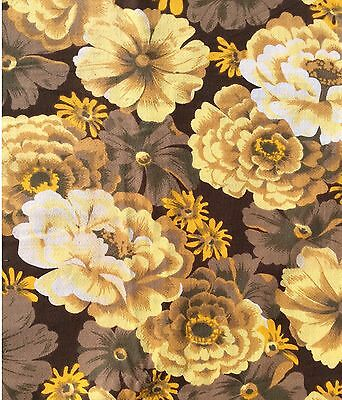 Vintage Cotton Barkcloth Floral Curtain Fabric Remnant Brown Yellow NOS